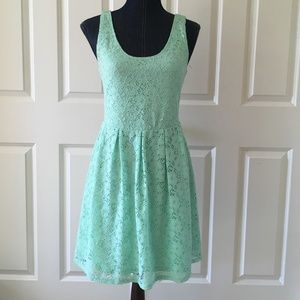 Guess womens mint green fit n flare lace dress